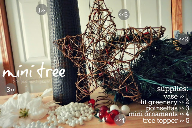 supplies: vase, lit greenery, poinsettas, mini ornaments, rustric tree topper