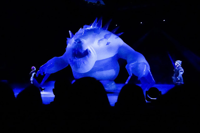 A giant inflatable marshmallow monster in Disney on ice presents frozen