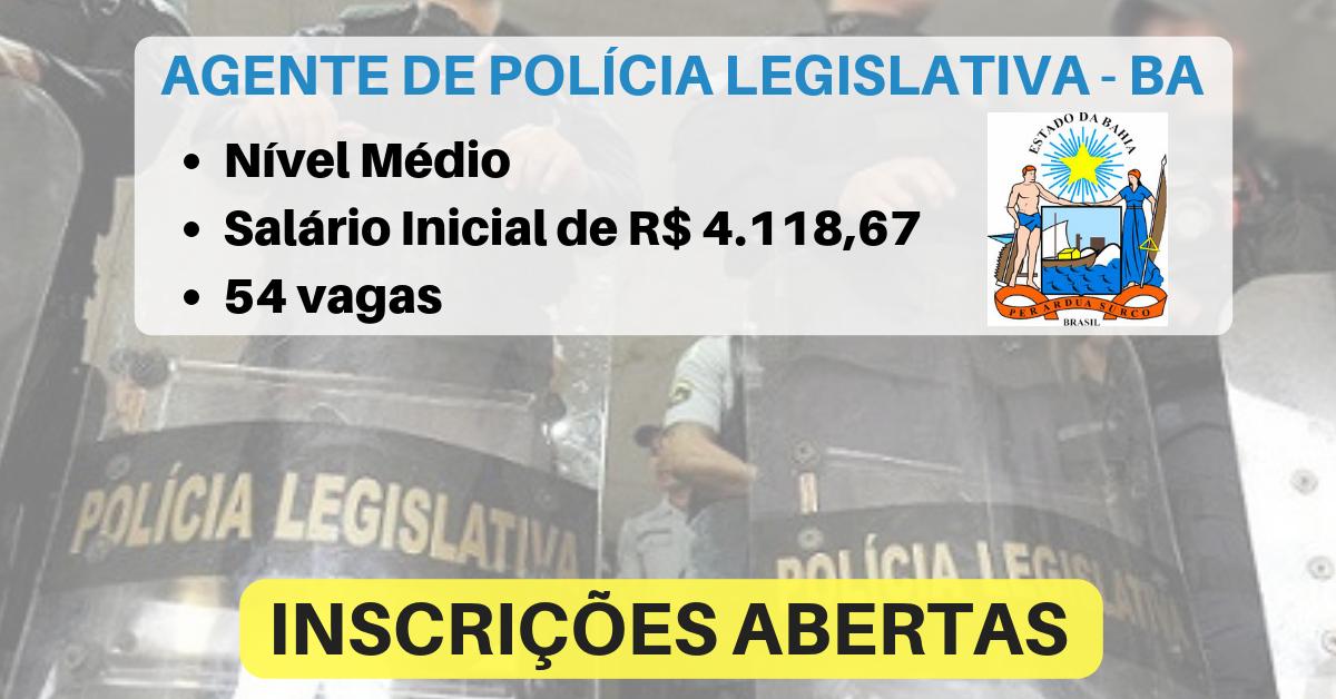 Bahia tem 54 vagas para Polícia Legislativa Nível Médio