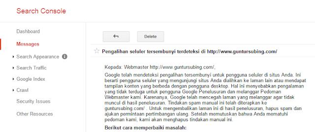 Cara Mengatasi Deindeks Karena Sneaky Mobile Redirect di Google Webmaster Tools / Search Console