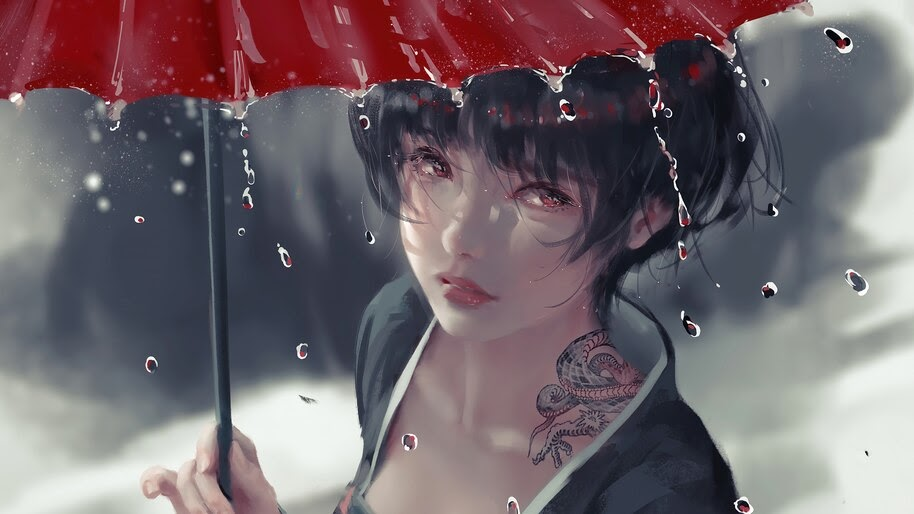 Tattoo, Girl, Raining, Umbrella, Fantasy, 4K, #4.2436