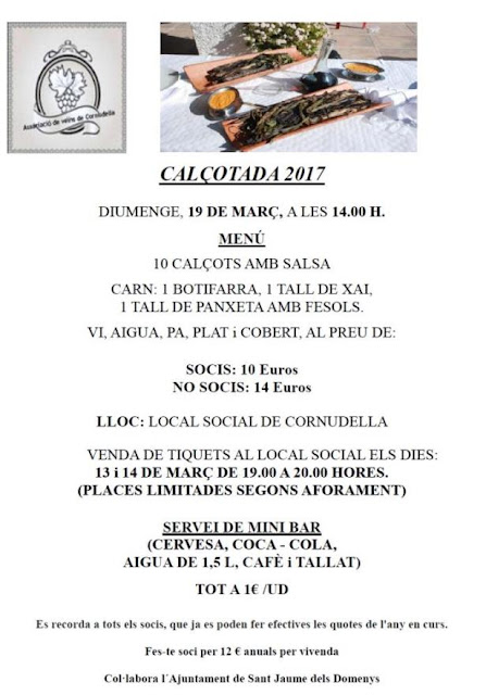 Calçotada a Cornudella, diumenge 19 de març de 2017