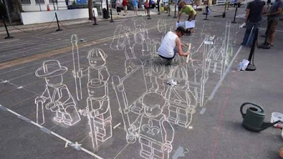 First Step Of 3d Street Painting