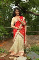 Akshara in Red Saree Golden Choli at LV Movie Makers Production No 1 Movie Opening ~  Exclusive 020.JPG