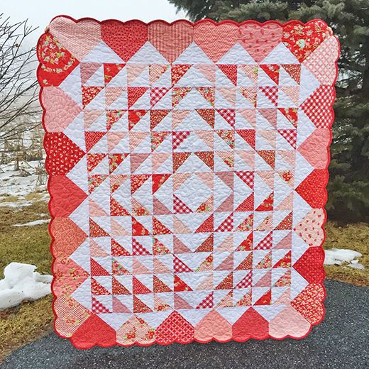 Valentines Hearts Afloat Quilt made by Jessica Dayon, The Pattern designed by Bev Getschel of Quiltmaker