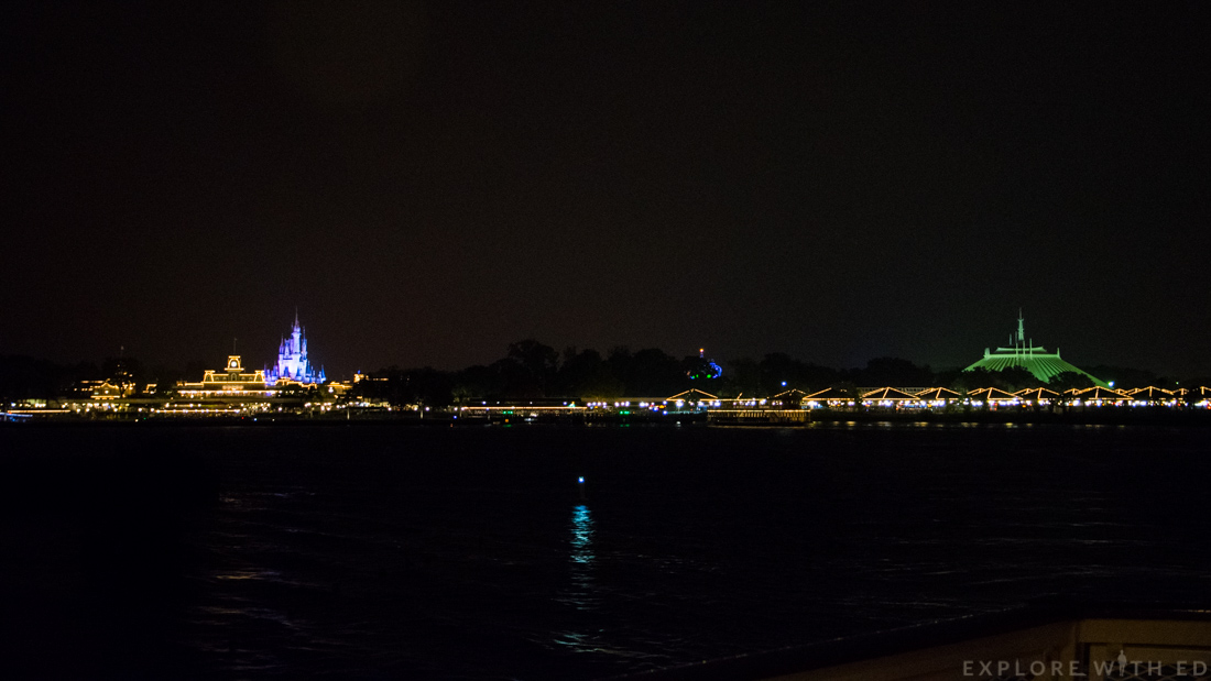 View of Magic Kingdom from ferry boat, Seven Seas Lagoon