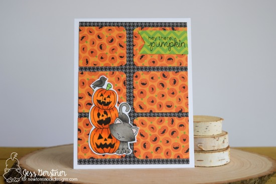 Halloween cat with pumpkins card by Jess Gerstner | Newton's Boo-tiful Night Stamp set by Newton's Nook Designs #newtonsnook #halloween