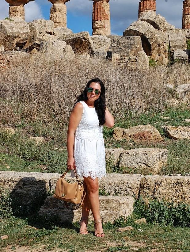 Forever 21 lace dress, Selinunte Italy, Sicily, Coach, Sam Edelman Serena