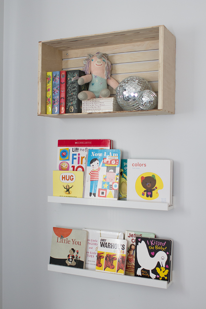 Wood crate bookshelf