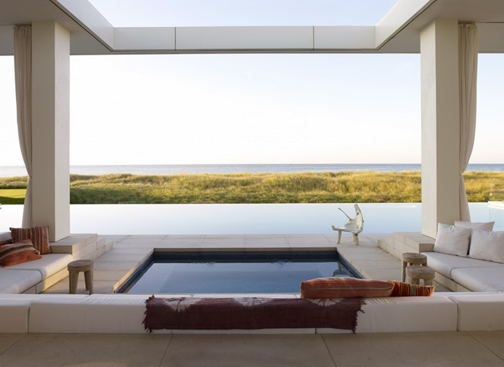 Pool view from Modern Mansion in Southampton by Sawyer and Berson