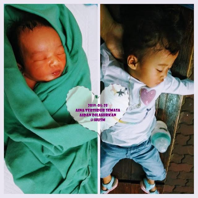 gambar kolaj bayi lelaki baru lahir dan kanak-kanak perempuan dua tahun sedang tidur.