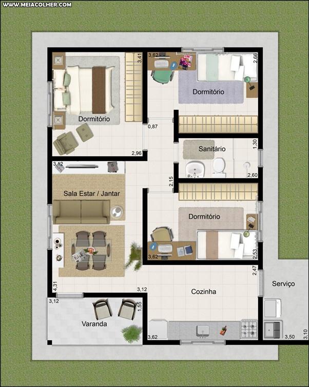 Casa de três quartos e um banheiro 4