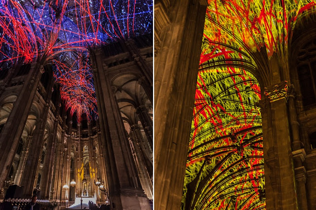 Green Pear Diaries, arte, Miguel Chevalier, Voûtes Célestes, Iglesia de Saint Eustache, Nuit Blanche, París
