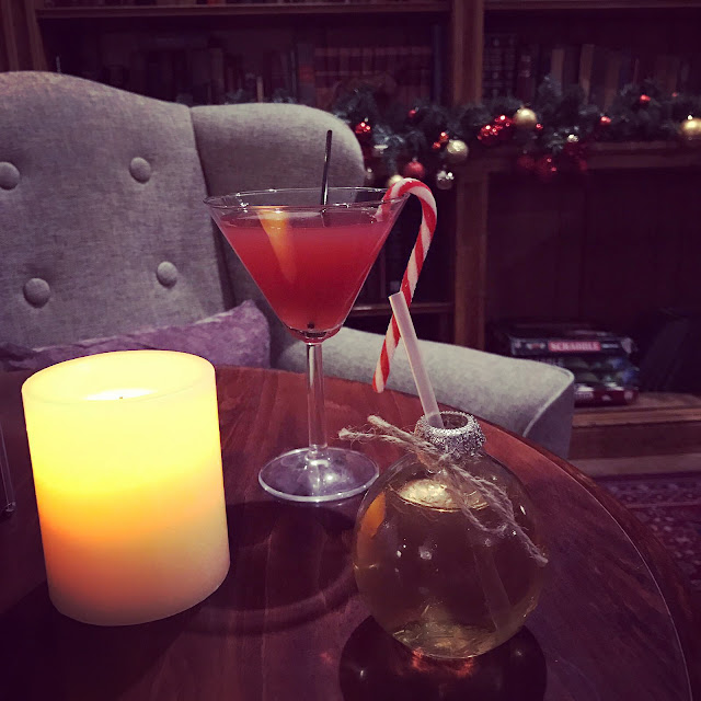 Christmas cocktails in The Library at Thoresby Hall, Nottinghamshire