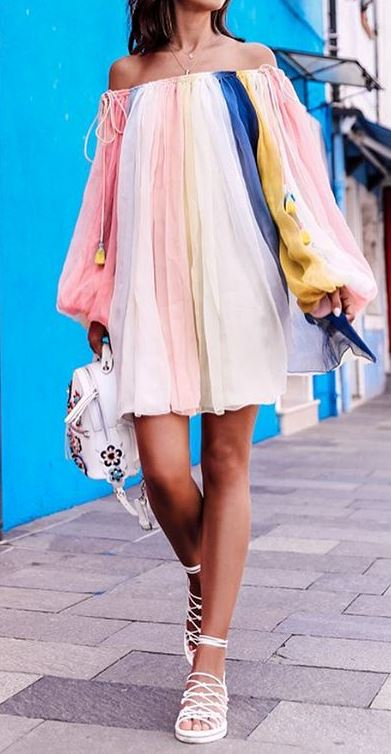 cute summer outfit: dress + bag
