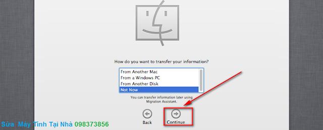 Chọn chế độ chuyển dữ liệu sang Mac OS X