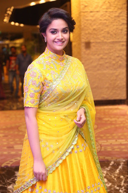 Keerthi Suresh in Transparent Yellow Saree