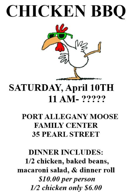 4-10 Chicken BBQ At The Port Allegany Moose
