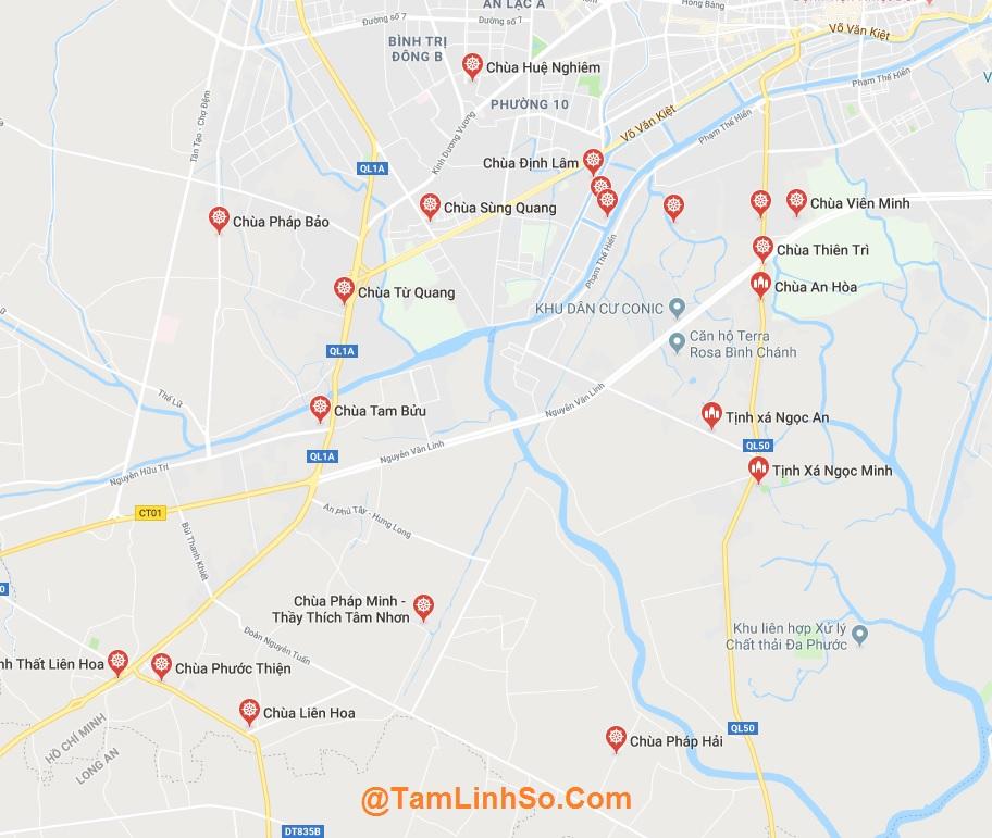 Bình Chánh là huyện rộng nhất tại Sài Gòn, có gần 100 ngôi chùa
