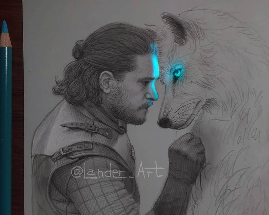 04-Jon-GoT-Kit-Harington-Chertkova-Lena-Game-of-Thrones-Glowing-Sketches-www-designstack-co