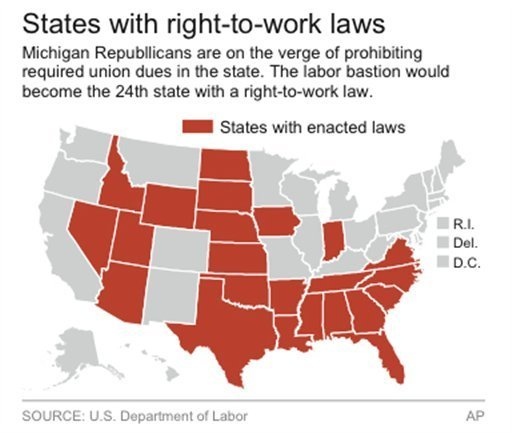 Labor Union States Map.Michigan Right To Work Passes Both Chambers Union S Will Lose