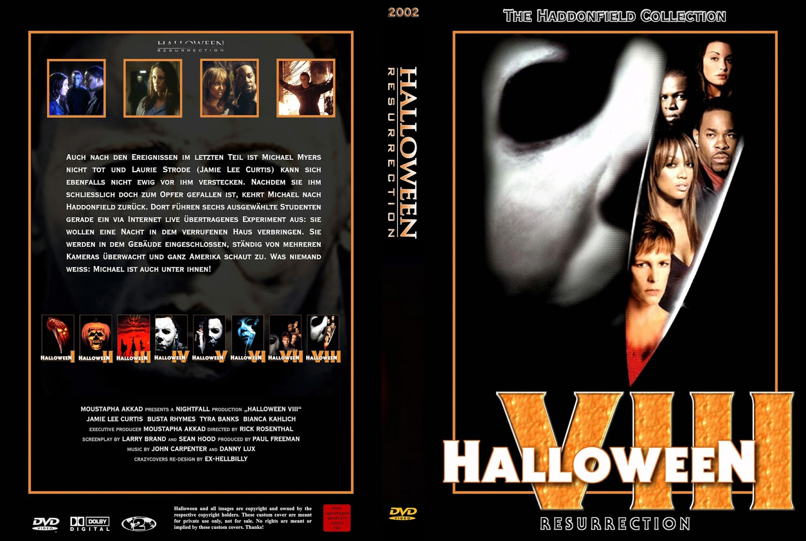 The Horrors Of Halloween: HALLOWEEN RESURRECTION (2002) VHS, DVD And Blu-ray Covers