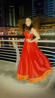 Mannara Chopra Spotted in Dubain in lovely Red Saree