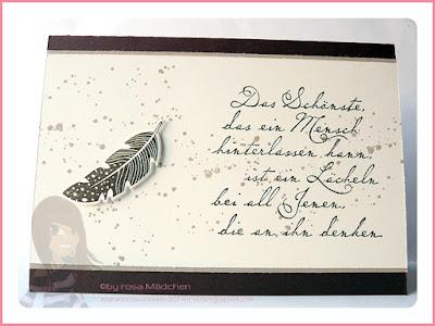 Stampin' Up! rosa Mädchen Kulmbach: Trauerkarte mit Four Feathers und Gorgeous Grunge