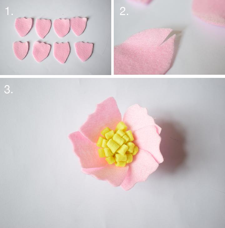 diy facile fleur en feutrine pétales