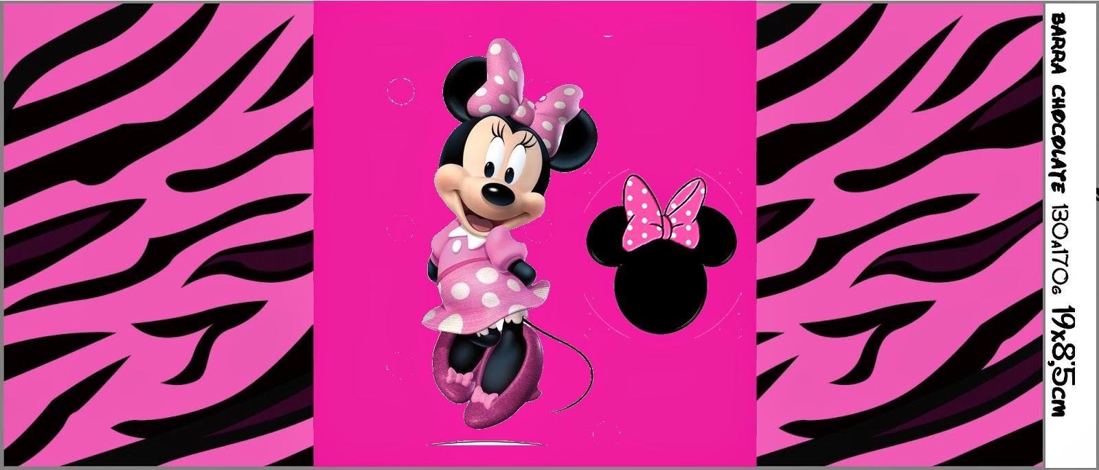 Etiquetas para Imprimir Gratis de Minnie Cebra Rosa.