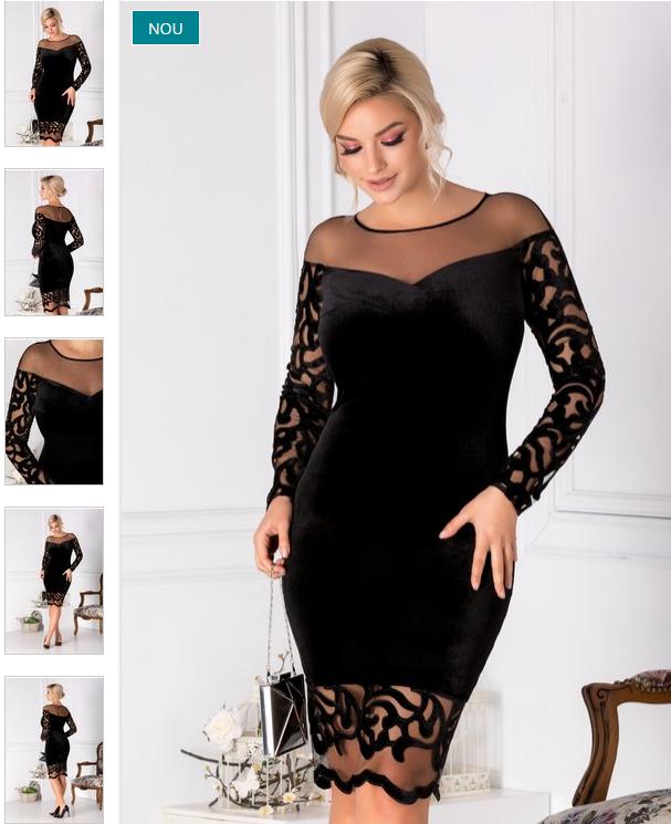 Rochie midi de lux neagra din catifea cu dantela eleganta superba
