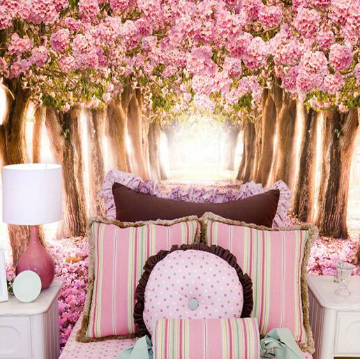 blommig tapet i sovrum fototapet rosa blommor rosor tapet träd