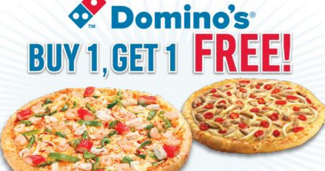 Domino's is known to offer discount coupons as inviting as its meals. Check through all the promotional offers on this page to pick the one most advantageous to your current cravings. Deals expire from time to time and new ones get added constantly to the system. You can expect to find offers such as these - Buy one large get one free at.
