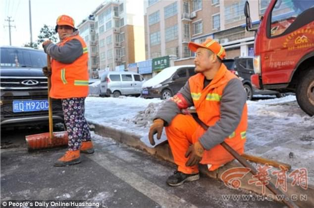 Mr Shang, who lost his leg at the age of seven, is tasked to clean four streets alongside his wife.