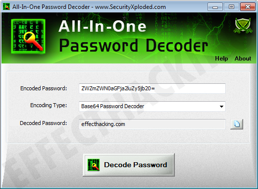 All-In-One Password Decoder Decoded Password