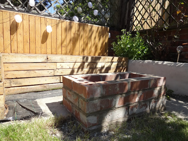 fire pit in garden near seating