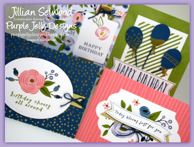 Dapper Denim, Flirty Flamingo, Old Olive, Wisteria Wonder, Birthday cards