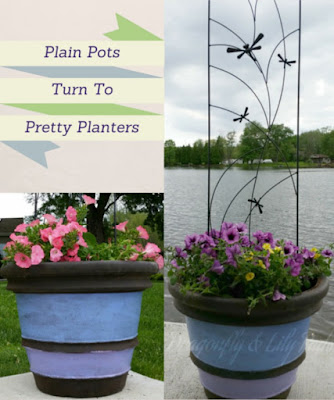 Finished Patio Planters filled with Pop and Plop Flowers, Pink, Purple, Blue, White, Yellow