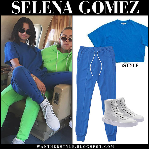 Selena Gomez in bright blue matching tee and sweatpants and white sneakers puma the weekend august 26 2017