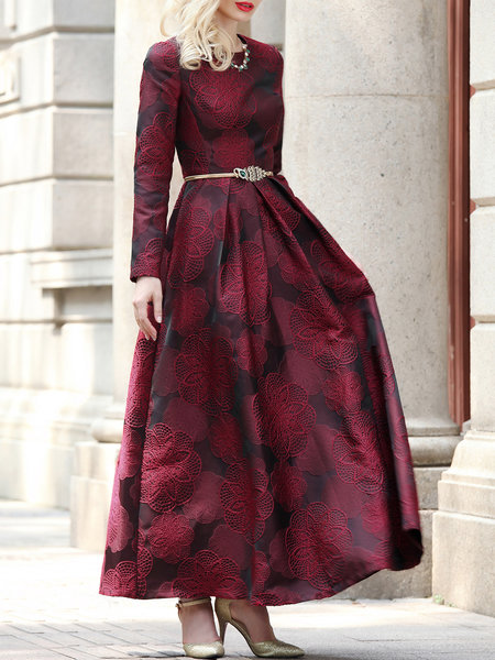 Wine Red Long Sleeve Jacquard Crew Neck Maxi Dress
