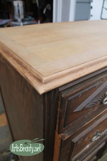 removing damaged veneer with a belt sander woodworking repair furniture dresser diy