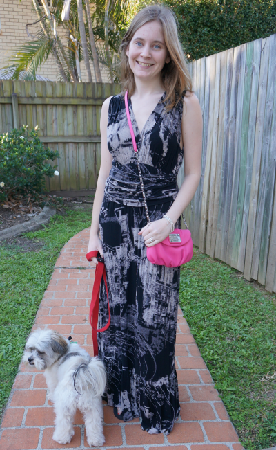 Away From Blue tie dye black maxi dress bright pink crossbody bag