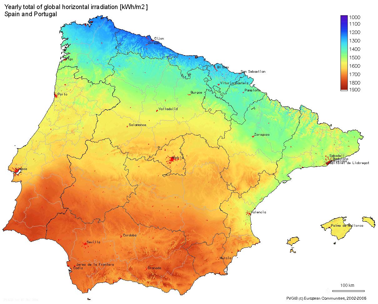 mapa irradiacion solar espana portugal