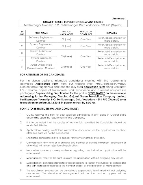 Recruitment of various post in GUJARAT GREEN REVOLUTION COMPANY LIMITED