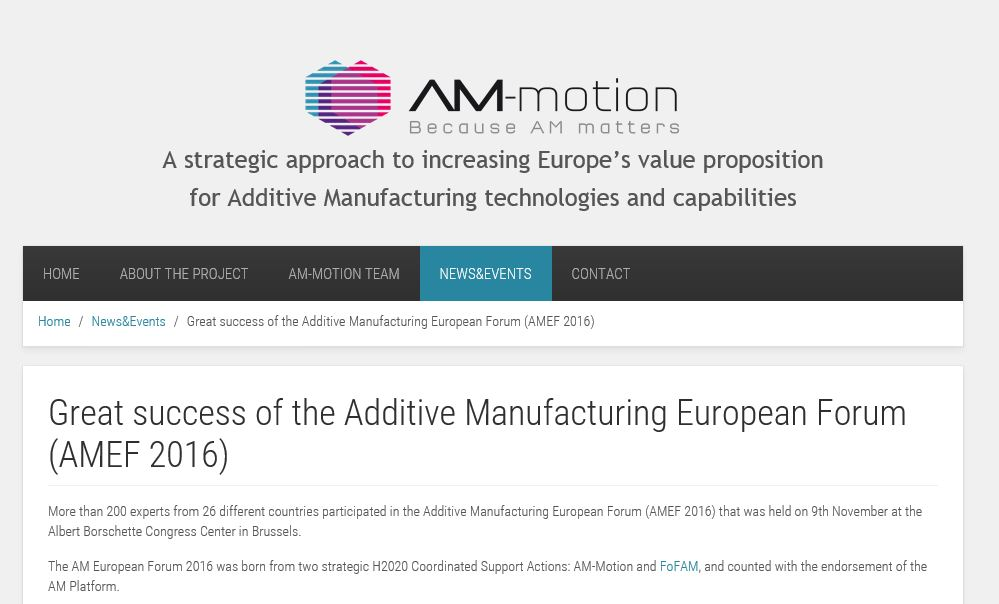 Blogcatim 2016 additive manufacturing european forum amef 2016 fandeluxe Gallery