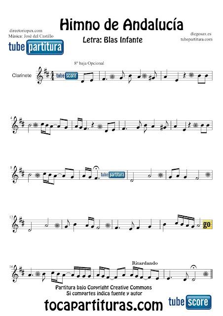Partitura de El Himno de Andalucía para Clarinete Letra de Blas Infante y Música de José del Castillo  Sheets Music Clarinet Music Score Himno de Andalucía