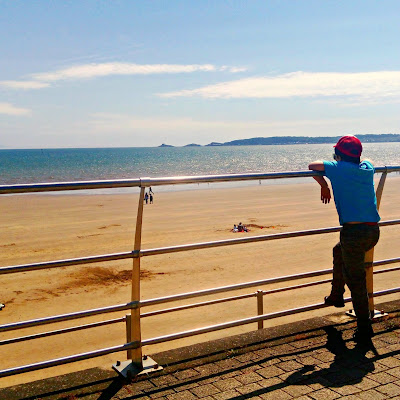 Rear view of a boy looking out over the railing at Swansea beach