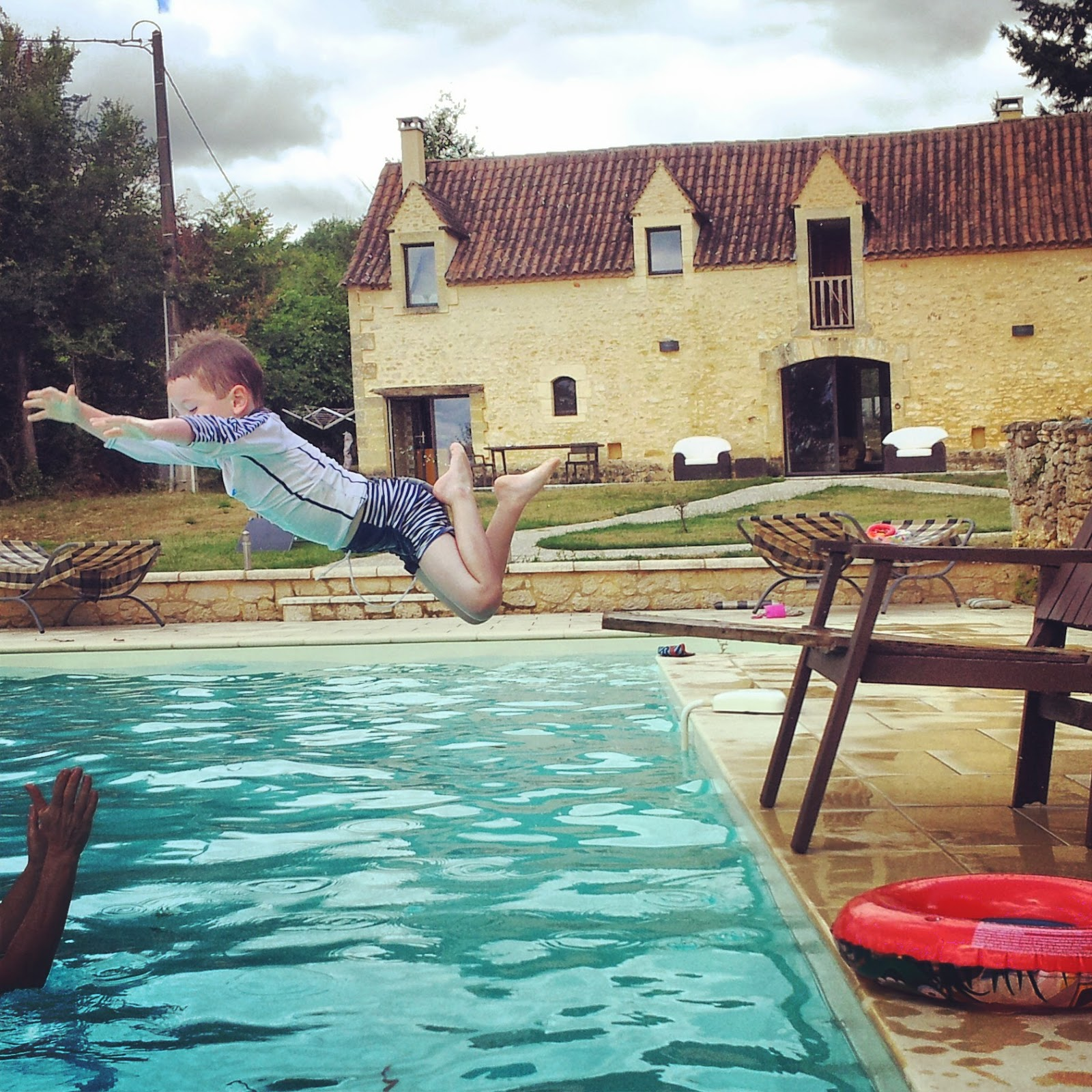 Jumping into pool