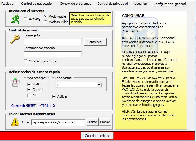 Formulario de configuración general