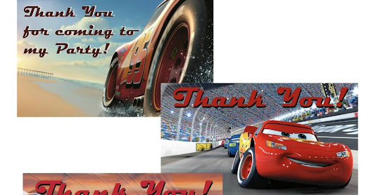 Cars 3 Thank You Cards
